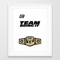 wwe Framed Art Prints featuring Team Bring It The Rock WWE by ems23