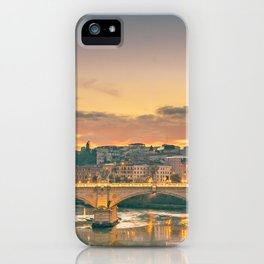 Cityscape Sunset Scene at Tiber River, Rome, Italy iPhone Case