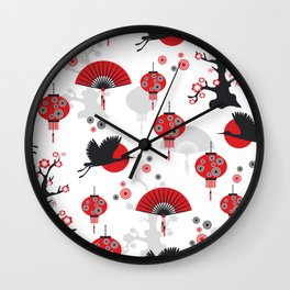 Japanese Arts Seamless Pattern Crane Fan  Wall Clock