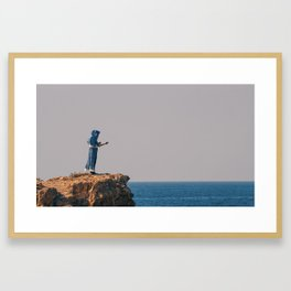 She Stands by the Sea Framed Art Print