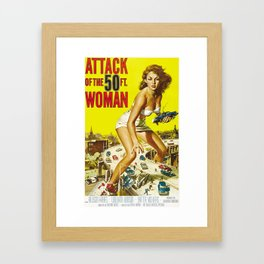 Attack Of The 50 Foot Woman, vintage horror movie poster Framed Art Print