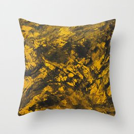 Black Ink on Yellow Background Throw Pillow