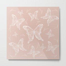Butterflies on peach background Metal Print