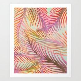 Tropical Palms Pattern - Pink, Purple, Orange Art Print