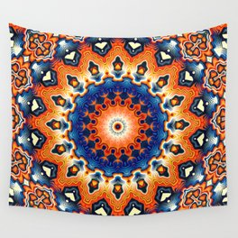 Geometric Orange And Blue Symmetry Wall Tapestry
