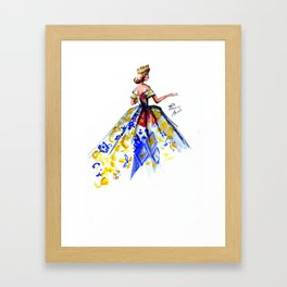 Queen Ball Gown Haute Couture Fashion Illustration Framed Art Print