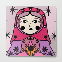 Matryoshka russian doll colorful illustration wall decor - Galina Metal Print