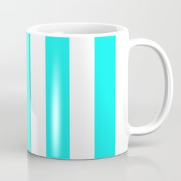 Fluorescent blue - solid color - white vertical lines pattern Coffee Mug