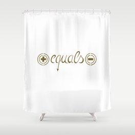 Plus equals minus Shower Curtain