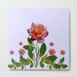 ANTIQUE PINK ROSES BOTANICAL ART Metal Print