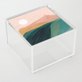 pink, green, gold moon watercolor mountains Acrylic Box