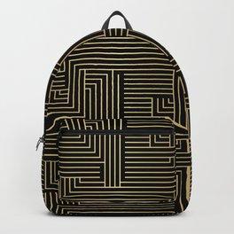 Black and gold art-deco geometric pattern. Backpack