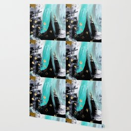 Fairy Dreams: an abstract mixed media piece in black, white, teal, and gold Wallpaper