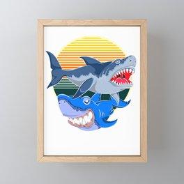 Shark Vintage Framed Mini Art Print