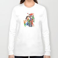 justice league Long Sleeve T-shirts featuring Justice League Hug! by Super Group Hugs