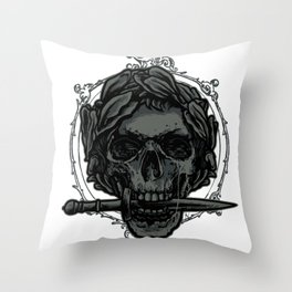 Caesar Skull Throw Pillow