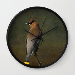 Cedar Waxwing Wall Clock