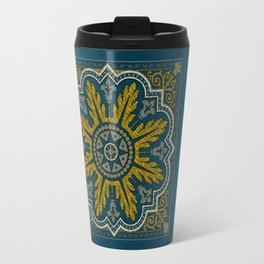 Blue and Gold Star Point Deco Travel Mug