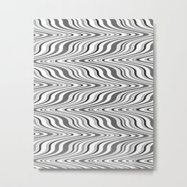 Moving curves optical illusion, black and white ikat pattern Metal Print
