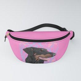 Happy doberman dog - Pink Fanny Pack