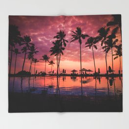 Paradise Sunset Tropical (Color) Throw Blanket