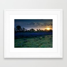 Texas Bluebonnets by the Pond at Sunrise Framed Art Print
