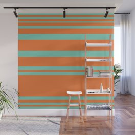 Cyan and Orange Stripes Minimalist Color Block Pattern Wall Mural