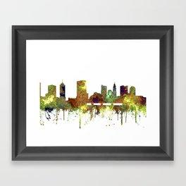 Columbus, Ohio Skyline SG - Safari Buff Framed Art Print