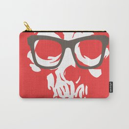 limited edition:amazing skull with glasses red background Carry-All Pouch