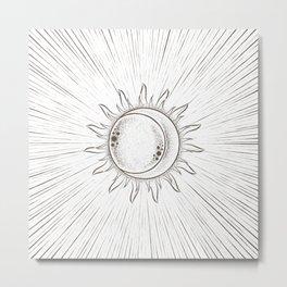 Sun Moon Beam White Metal Print
