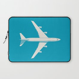 747-400 Jumbo Jet Airliner Aircraft - Cyan Laptop Sleeve
