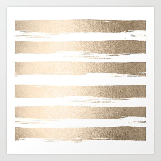 White Gold Sands Painted Thick Stripes Art Print