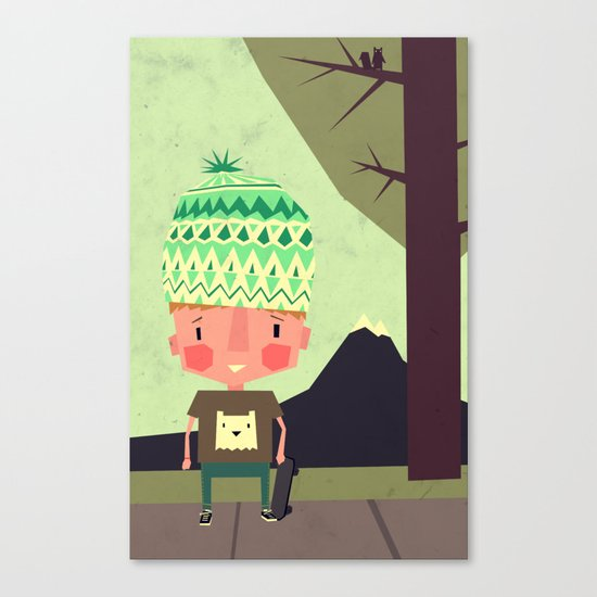 kid playing in the streets Canvas Print