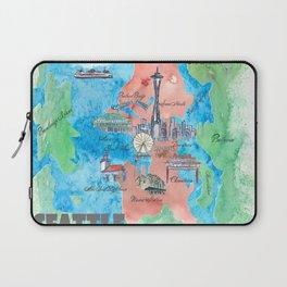 Seattle Washington Travel Poster Favorite Map Laptop Sleeve