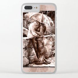 Love in the rain style MistyRose Clear iPhone Case