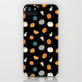 Halloween Pumpkins & Gourds - black palette iPhone Case