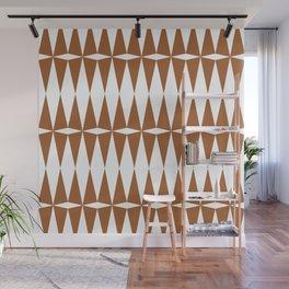 Brown + White Diamond Pattern Wall Mural