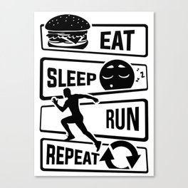 Eat Sleep Run Repeat - Running Runner Fitness Canvas Print