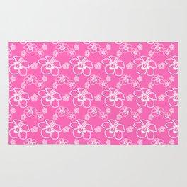 Pink Hawaiian Hibiscus Flowrs Rug