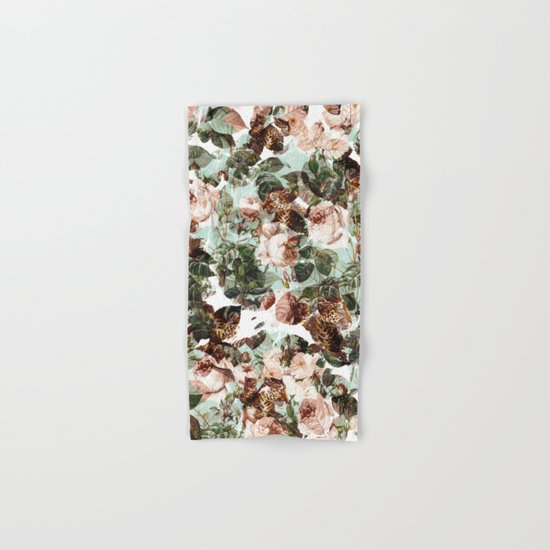 Floral and Leopard Pattern Hand & Bath Towel