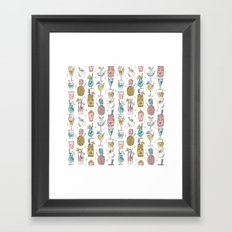 Tropical cocktails summer drinks pineapple tiki bar pattern by andrea lauren Framed Art Print