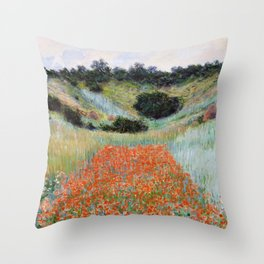 Poppy Field in a Hollow near Giverny by Claude Monet Throw Pillow