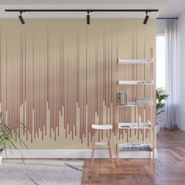 Red and Beige Frequency Line Art Pattern 2021 Color of the Year Passionate and Diamond Weave Wall Mural