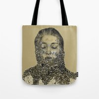 bees Tote Bags featuring bees by stacyyufa