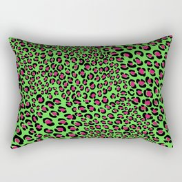 Punk glam psycho Pink Green leopard animal print Rectangular Pillow