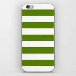 Avocado - solid color - white stripes pattern iPhone Skin
