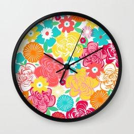 Big Summer Floral Wall Clock