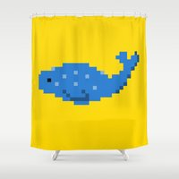 8 bit Shower Curtains featuring 8-bit Seal by Ria Pi