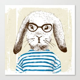 Hipster Rabit with Style Canvas Print