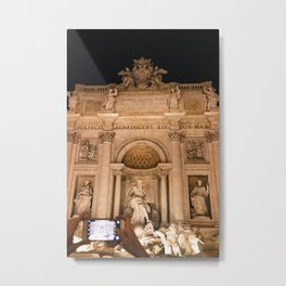 Photo of a Mobile Photographer at the Trevi Fountain on Piazza di Trevi during an Evening in Rome, Italy | Fine Art Colorful Travel Photography |  Metal Print